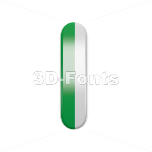 Uppercase italian font I - Capital 3d letter - 3d-fonts