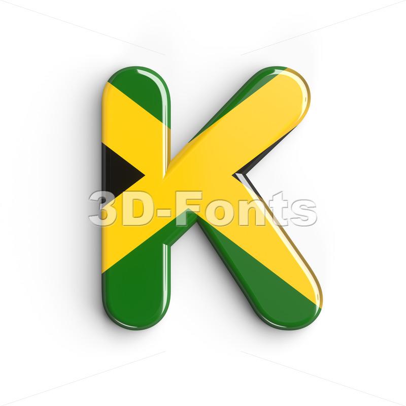 Uppercase jamaica flag letter K - Capital 3d font - 3d-fonts