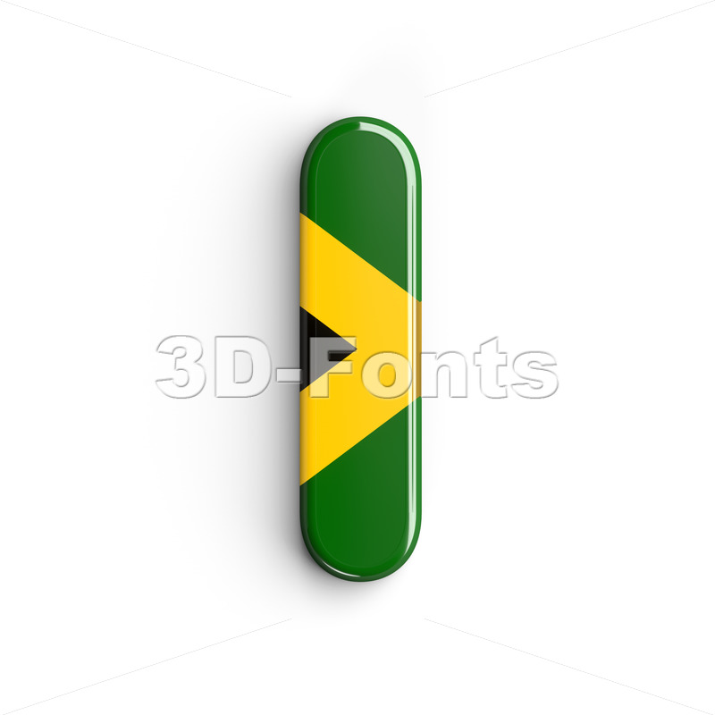 Uppercase jamaican flag font I - Capital 3d letter - 3d-fonts