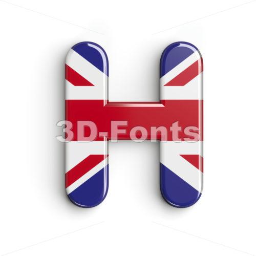 british flag 3d letter H - Upper-case 3d character - 3d-fonts