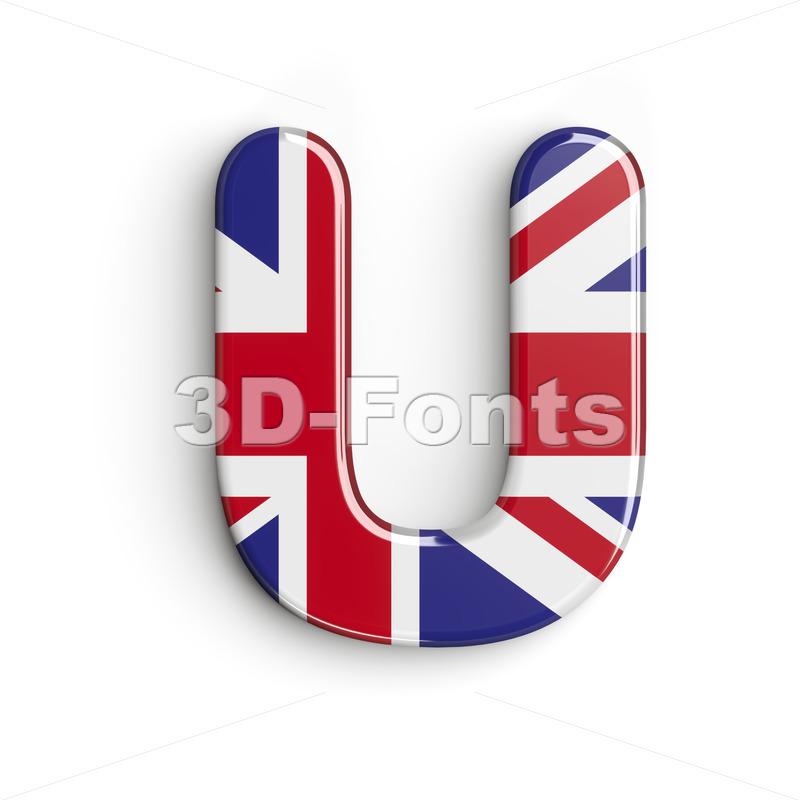 british flag 3d letter U - Capital 3d font - 3d-fonts