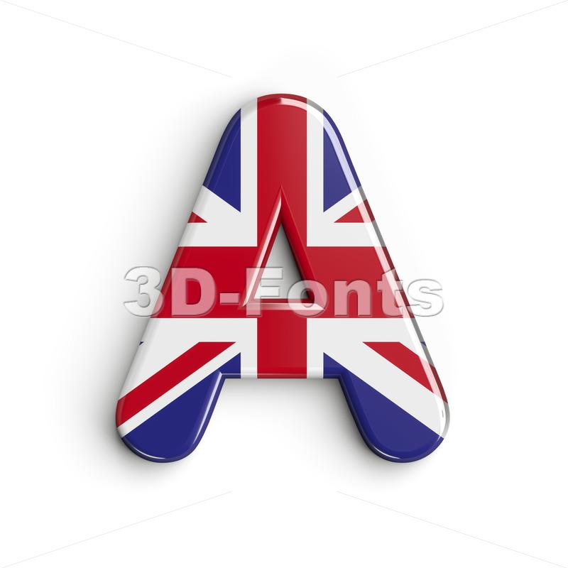 british flag letter A - Capital 3d character - 3d-fonts