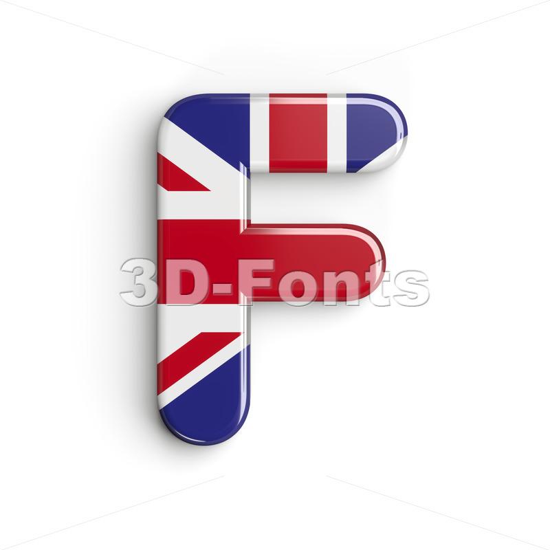british flag letter F - Upper-case 3d font - 3d-fonts