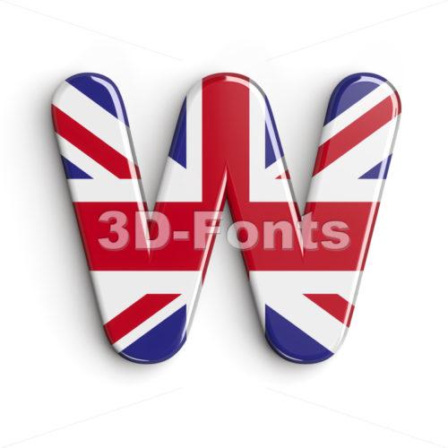 british font W - Capital 3d letter - 3d-fonts