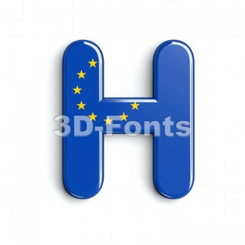 eu flag 3d letter H - Upper-case 3d character - 3d-fonts