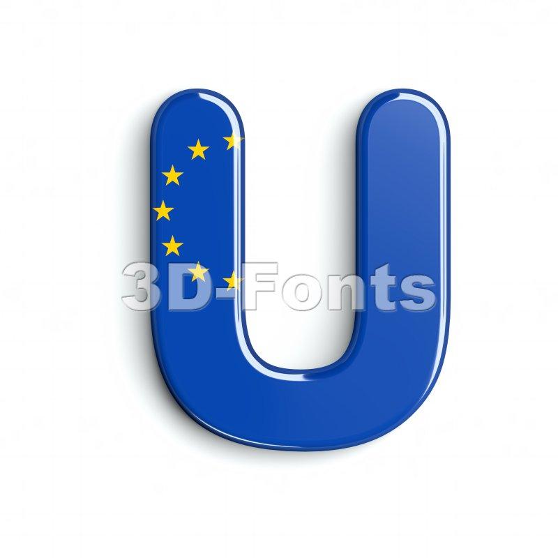 eu flag 3d letter U - Capital 3d font - 3d-fonts