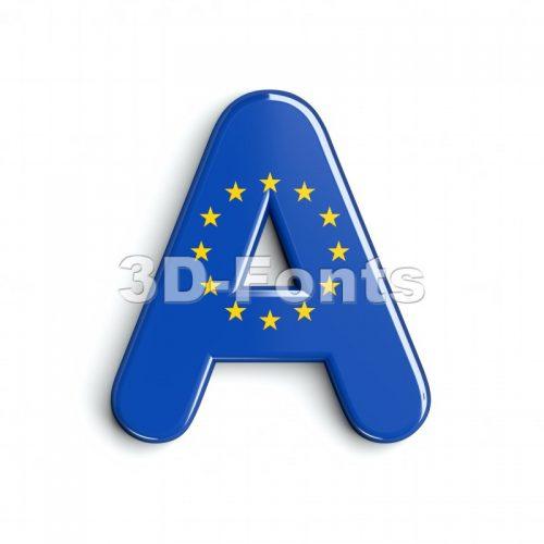 eu flag letter A - Capital 3d character - 3d-fonts
