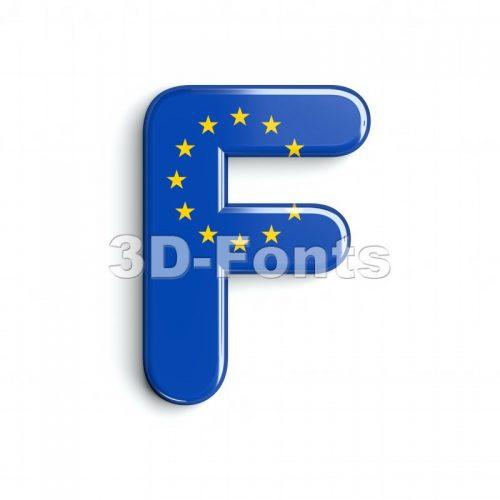 eu flag letter F - Upper-case 3d font - 3d-fonts