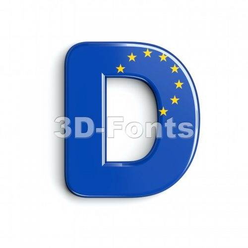 european font D - Capital 3d character - 3d-fonts