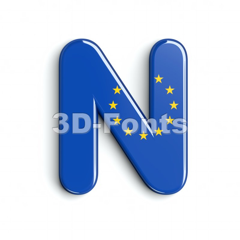 european font N - Capital 3d letter - 3d-fonts