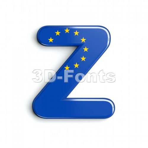 european letter Z - Upper-case 3d font - 3d-fonts