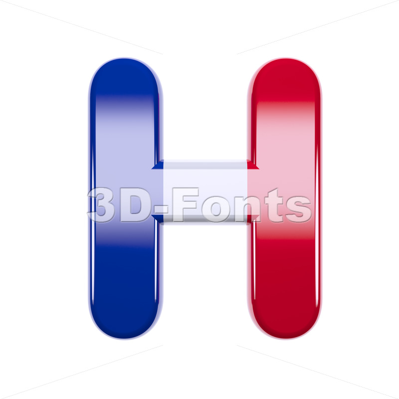 french flag 3d letter H - Upper-case 3d character - 3d-fonts
