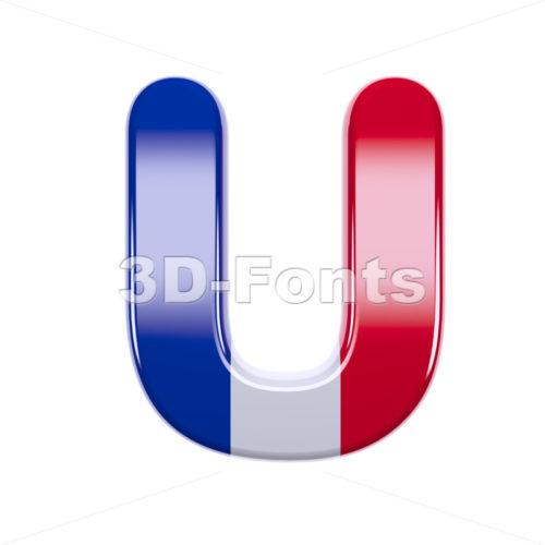 french flag 3d letter U - Capital 3d font - 3d-fonts
