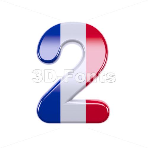 french flag digit 2 - 3d number - 3d-fonts