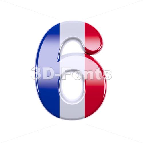 french flag digit 6 - 3d number - 3d-fonts