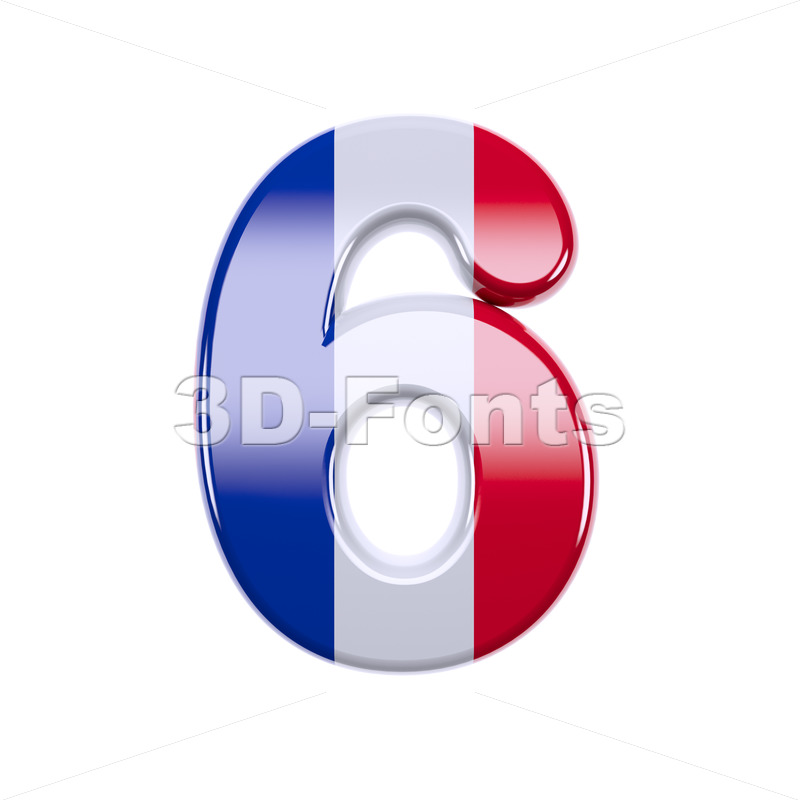 french flag digit 6 - 3d number - 3d-fonts