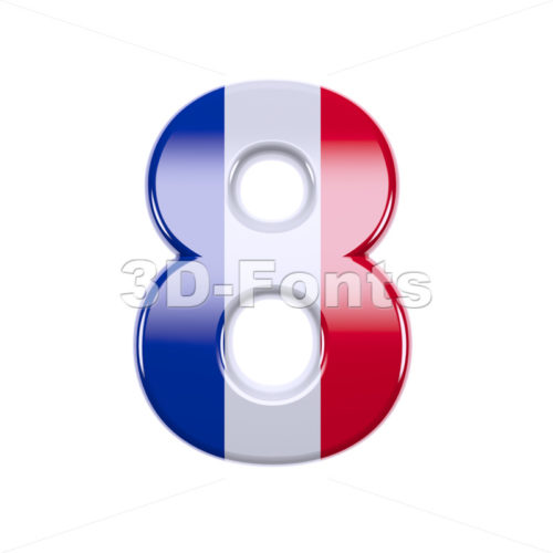 french flag digit 8 - 3d number - 3d-fonts