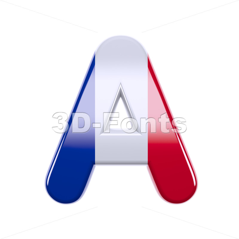 french flag letter A - Capital 3d character - 3d-fonts