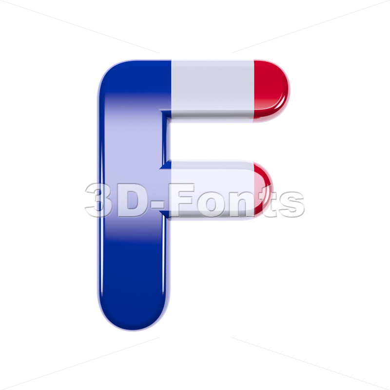 french flag letter F - Upper-case 3d font - 3d-fonts