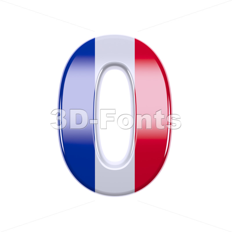 french flag number 0 - 3d digit - 3d-fonts