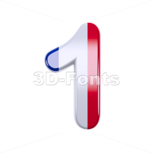french flag number 1 - 3d digit - 3d-fonts