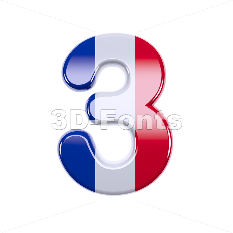 french flag number 3 - 3d digit - 3d-fonts