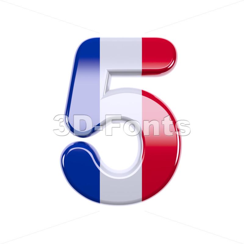french flag number 5 - 3d digit - 3d-fonts
