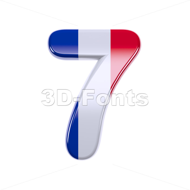 french flag number 7 - 3d digit - 3d-fonts