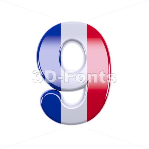french flag number 9 - 3d digit - 3d-fonts
