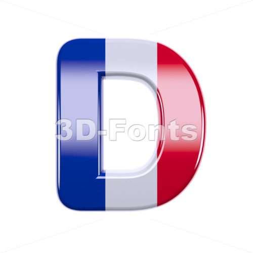 french font D - Capital 3d character - 3d-fonts