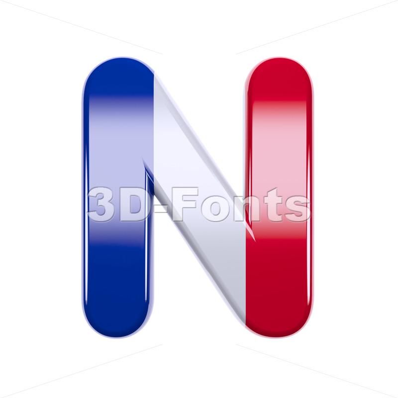 french font N - Capital 3d letter - 3d-fonts