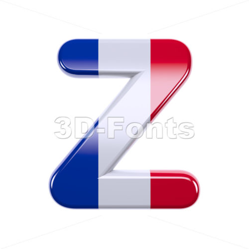 french letter Z - Upper-case 3d font - 3d-fonts
