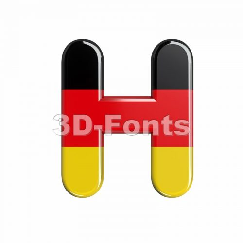 german flag 3d letter H - Upper-case 3d character - 3d-fonts