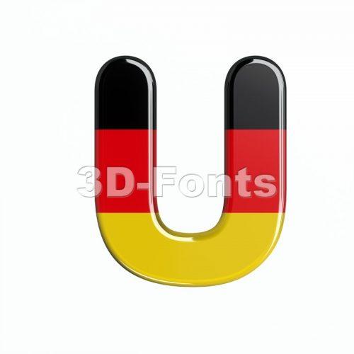 german flag 3d letter U - Capital 3d font - 3d-fonts
