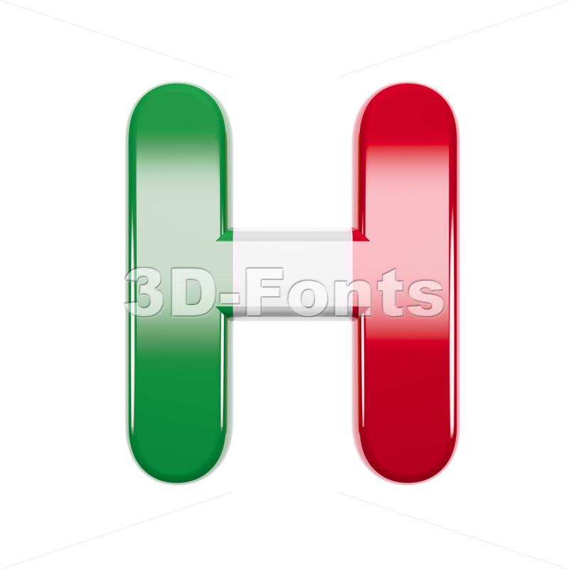 italian flag 3d letter H - Upper-case 3d character - 3d-fonts