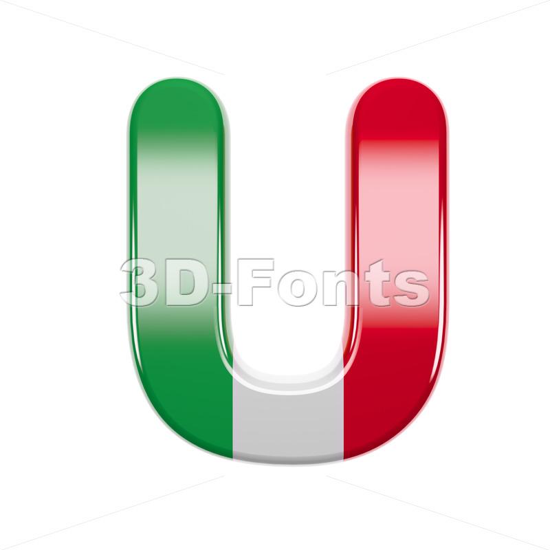 italian flag 3d letter U - Capital 3d font - 3d-fonts