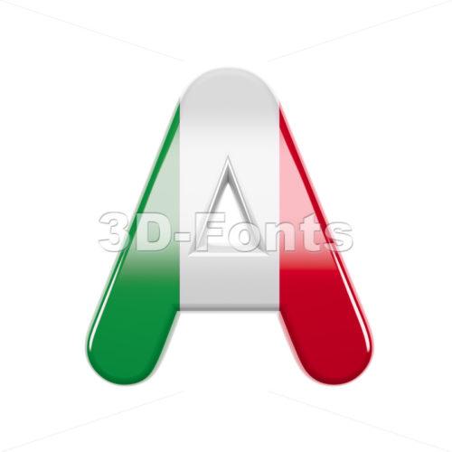 italian flag letter A - Capital 3d character - 3d-fonts
