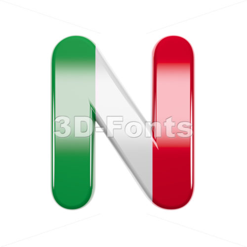 italian font N - Capital 3d letter - 3d-fonts