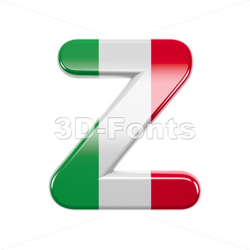 italian letter Z - Upper-case 3d font - 3d-fonts