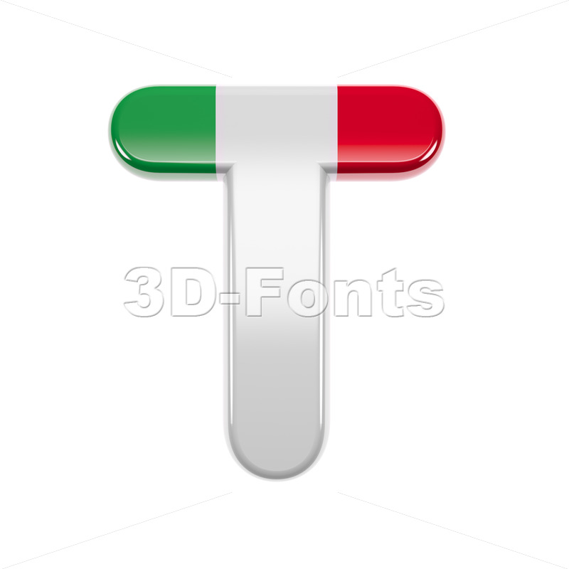 italy flag colors character T - Uppercase 3d letter - 3d-fonts