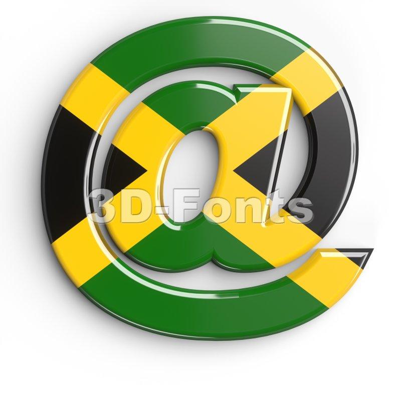 jamaica at-sign - 3d arobase symbol - 3d-fonts