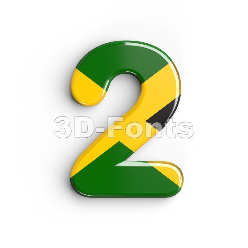 jamaica digit 2 - 3d number - 3d-fonts