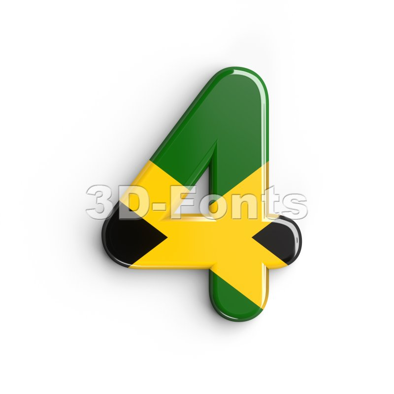 jamaica digit 4 - 3d number - 3d-fonts