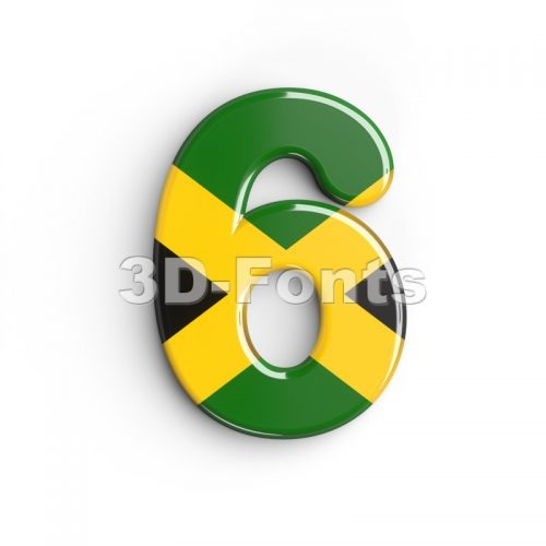 jamaica digit 6 - 3d number - 3d-fonts