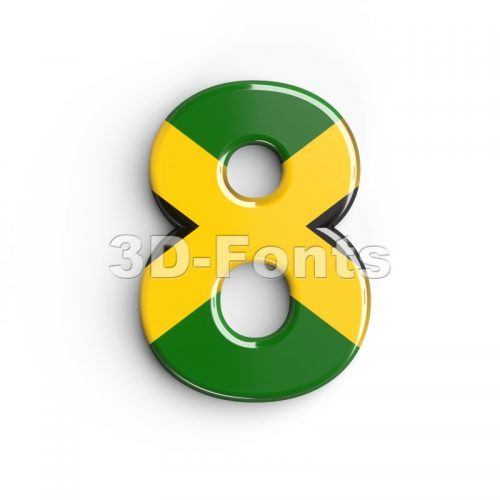 jamaica digit 8 - 3d number - 3d-fonts