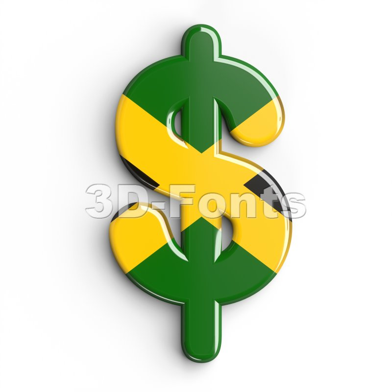 jamaica dollar currency sign - 3d money symbol - 3d-fonts