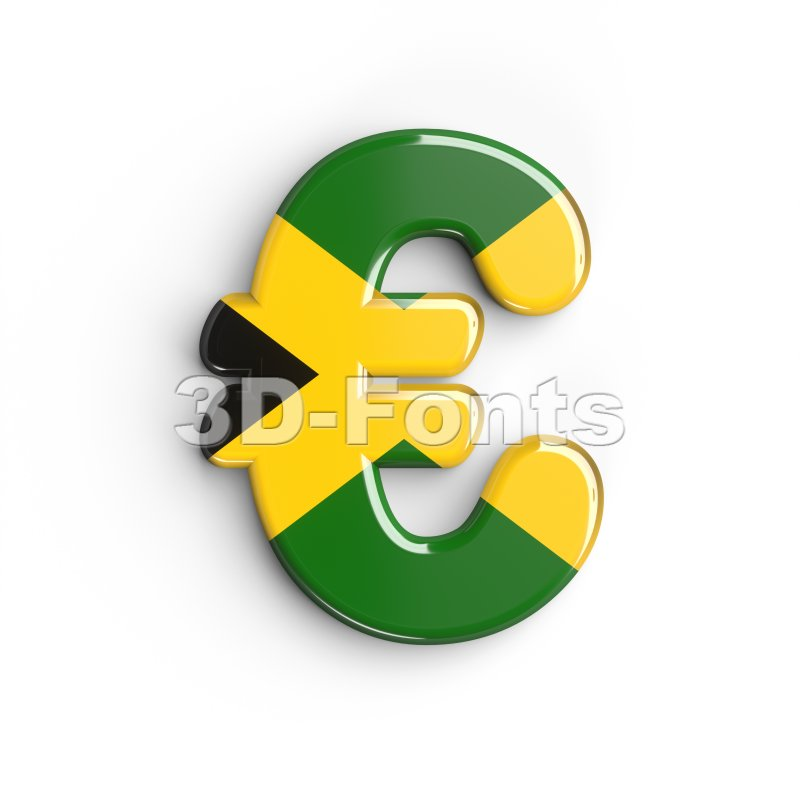jamaica euro currency sign - 3d business symbol - 3d-fonts