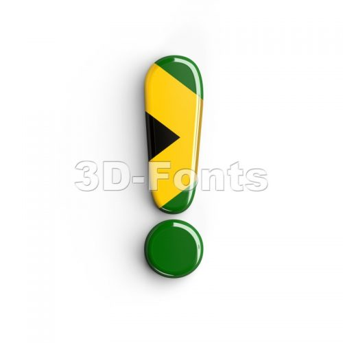 jamaica exclamation point - 3d symbol - 3d-fonts