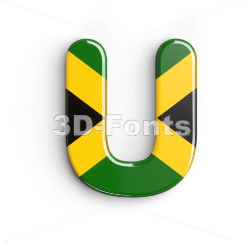 jamaica flag 3d letter U - Capital 3d font - 3d-fonts
