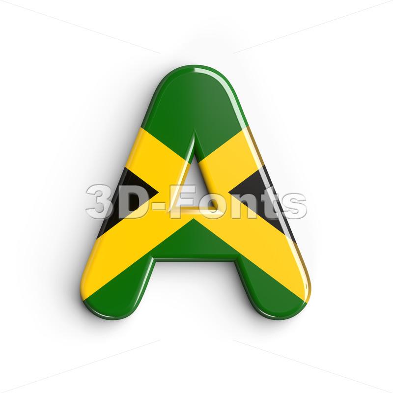 jamaica flag letter A - Capital 3d character - 3d-fonts